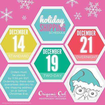 Origami Owl shipping Holiday 2014