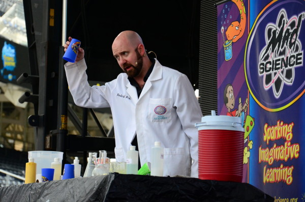 Mad Science on stage. PHOTO CREDIT: SAN DIEGO FESTIVAL OF SCIENCE & ENGINEERING