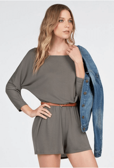Just Fab Dolman Knit Romper Dark Olive