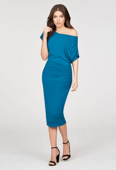Off the Shoulder Knit JustFab Blue Dress